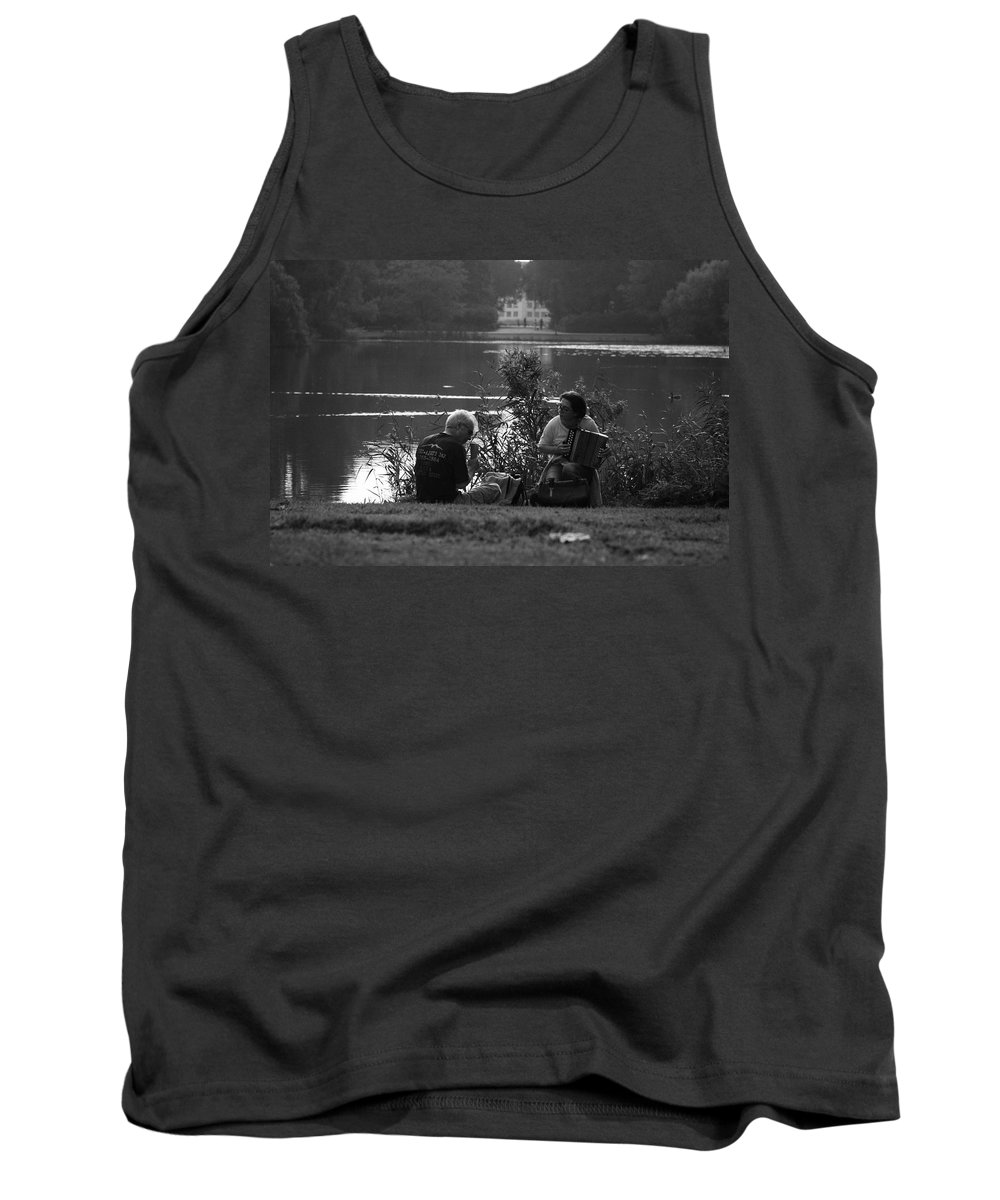 Music Tank Top featuring the photograph Musicians By The Pond by Aidan Moran