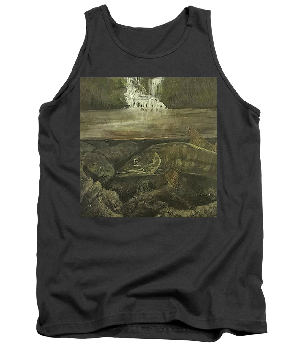 Muskie Tank Top featuring the painting Muskellunge by Fallon Franzen