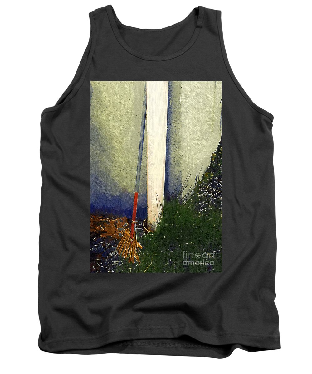 Rake Tank Top featuring the painting My Old Rake by RC DeWinter