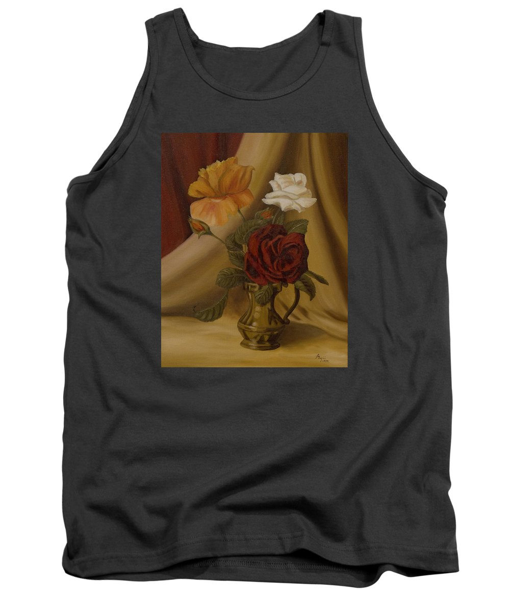 Flowers Tank Top featuring the painting My Small Roses by Andreja Dujnic