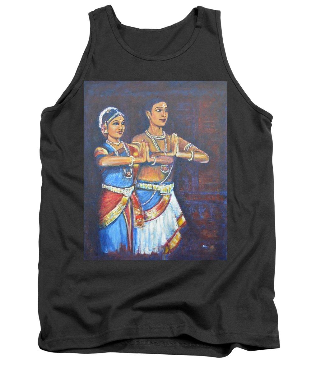 Namaskaaramu Tank Top featuring the painting Namaskaaramu by Usha Shantharam