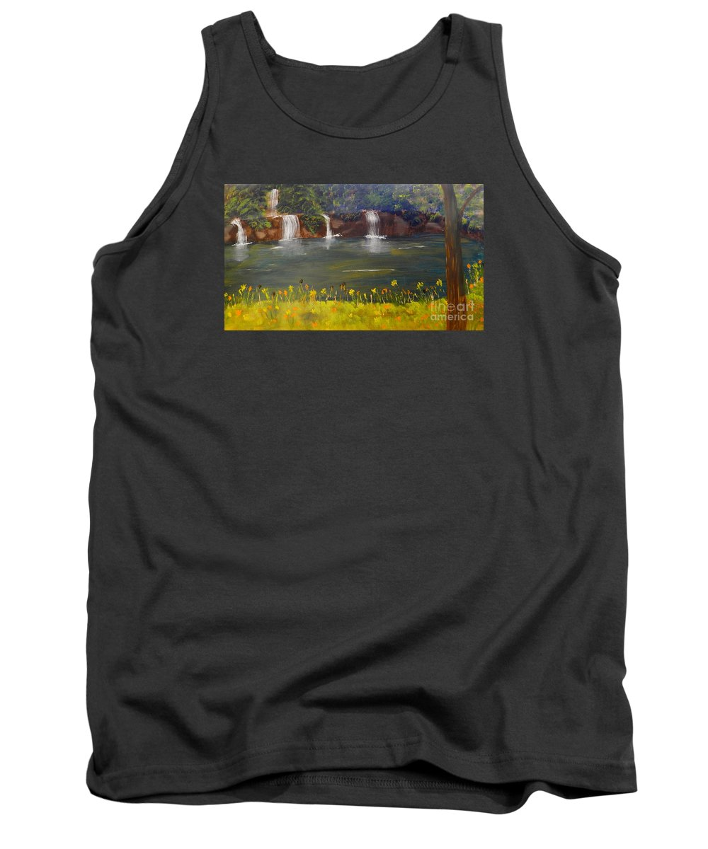 Impressism Tank Top featuring the painting Nandroy Falls In Queensland by Pamela Meredith