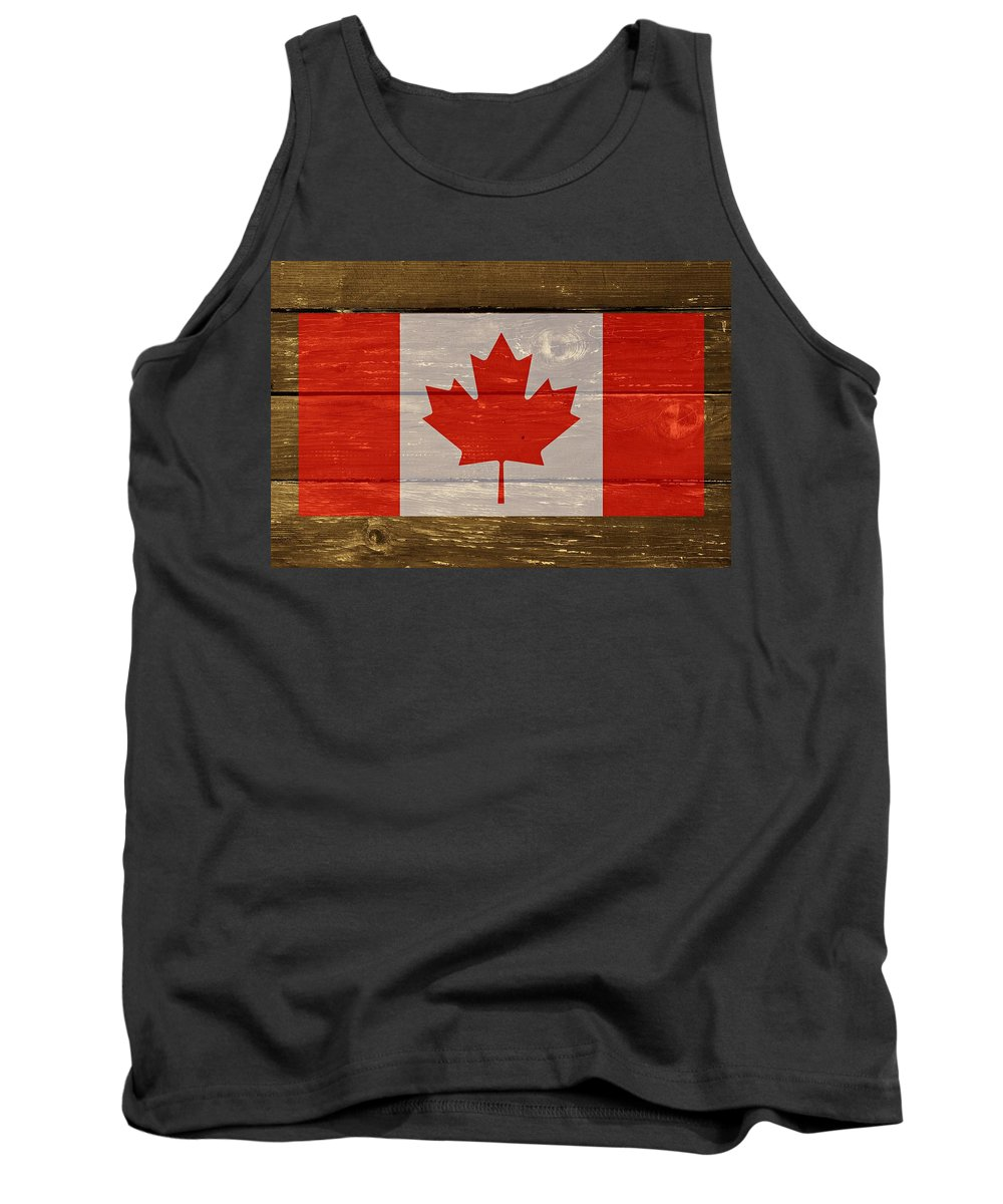 Canada Tank Top featuring the digital art Canada National Flag On Wood by Movie Poster Prints