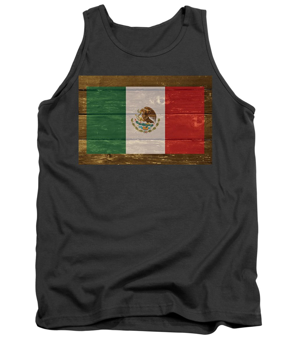 Mexico Tank Top featuring the digital art Mexico National Flag On Wood by Movie Poster Prints