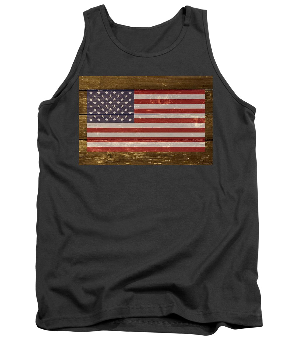 Usa Tank Top featuring the digital art United States Of America National Flag On Wood by Movie Poster Prints