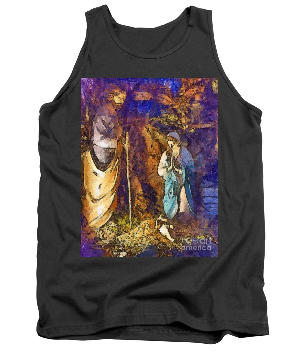 Christmas Tank Top featuring the digital art Nativity Scene by Sophie McAulay
