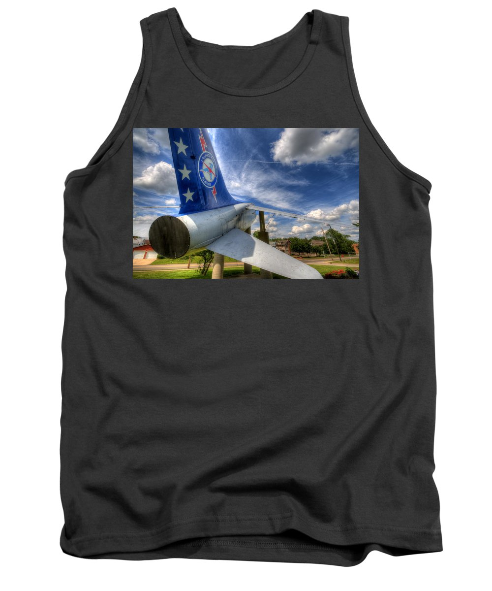 Navy Tank Top featuring the photograph Navy A-7 Fighter Static Display by David Dufresne
