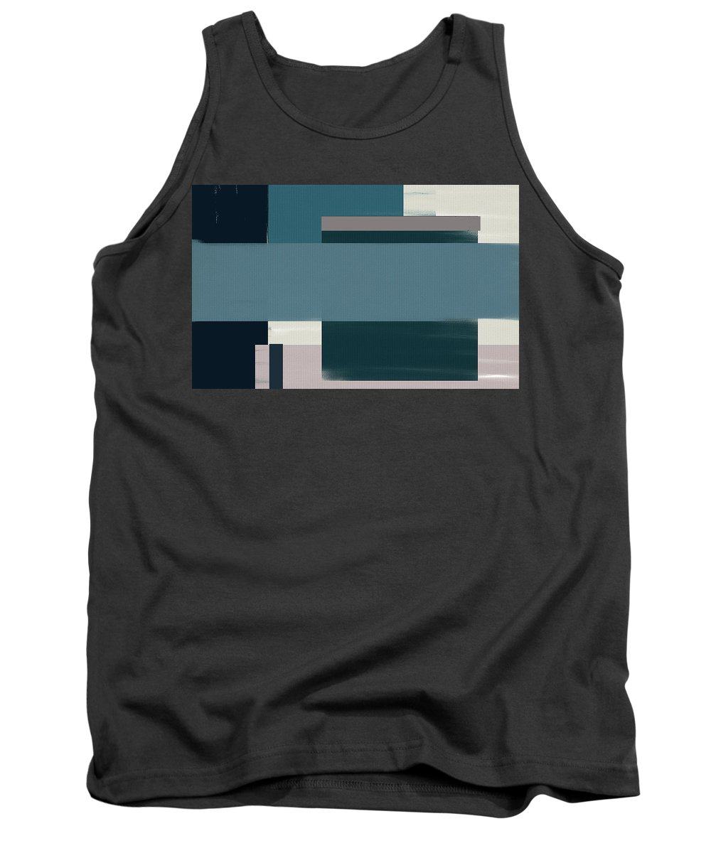 Blue Tank Top featuring the painting Navy Silence Rectangular Format by Lourry Legarde