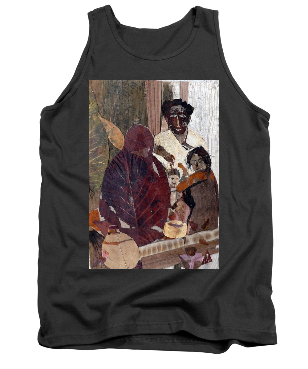 Group Portrait Tank Top featuring the mixed media Needy Family by Basant Soni