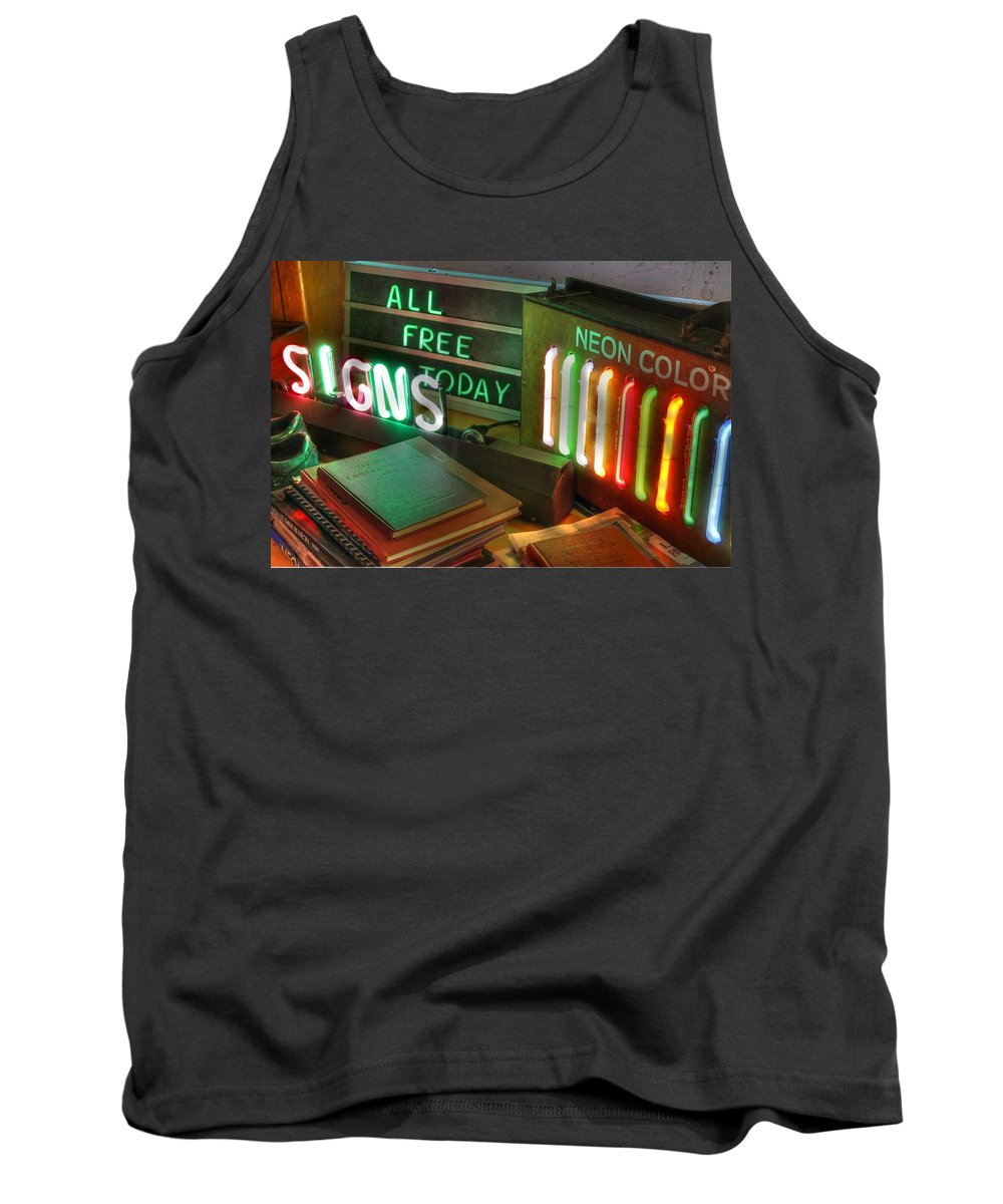 Neon Tank Top featuring the photograph Neon Sign by Jane Linders
