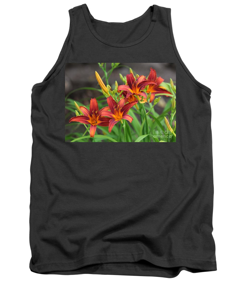 Orange Daylilies Tank Top featuring the photograph New Daylilies by Carol Groenen