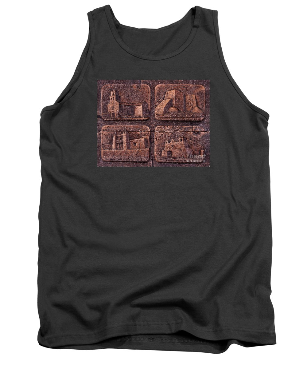 Churches Tank Top featuring the mixed media New Mexico Churches by Ricardo Chavez-Mendez