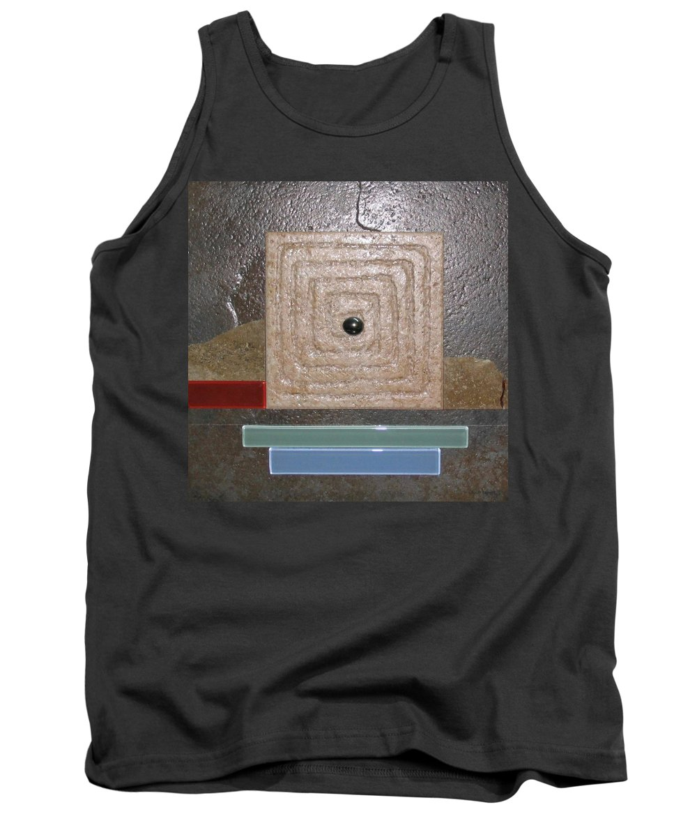 Assemblage Tank Top featuring the relief New Moon by Elaine Booth-Kallweit
