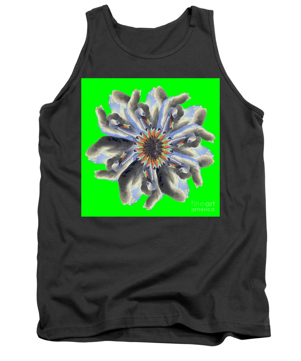 Tank Top featuring the photograph New Photographic Art Print For Sale Pop Art Swan Flower On Green by Toula Mavridou-Messer