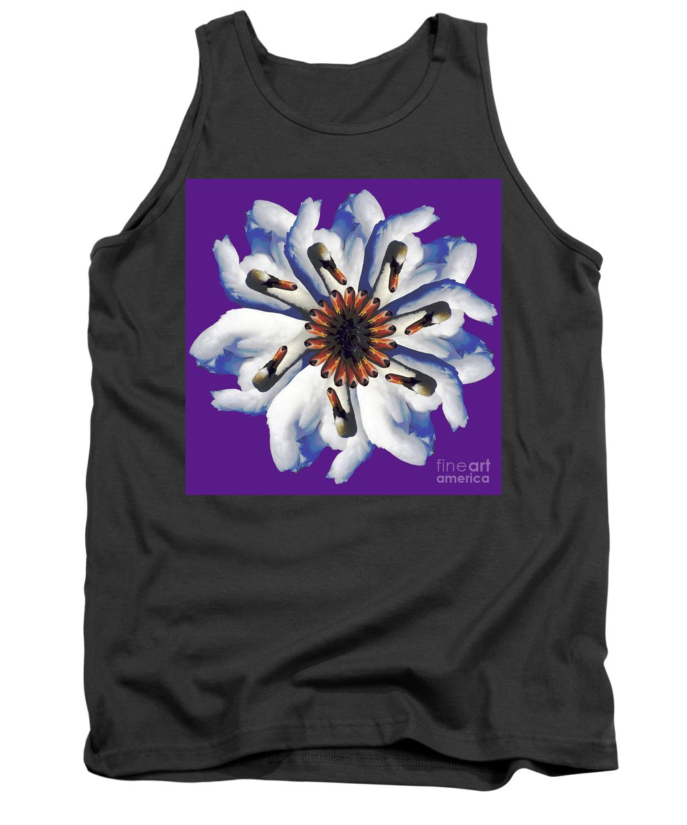 Purple Tank Top featuring the photograph New Photographic Art Print For Sale Pop Art Swan Flower On Purple by Toula Mavridou-Messer