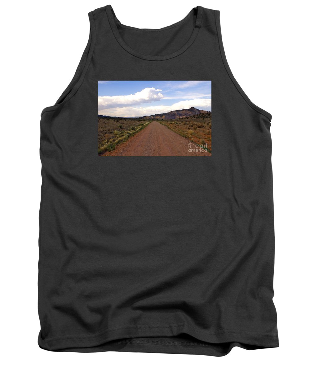 Road Tank Top featuring the photograph Red Road From The Benedictine Abbey Of Christ In The Desert New Mexico by Toula Mavridou-Messer