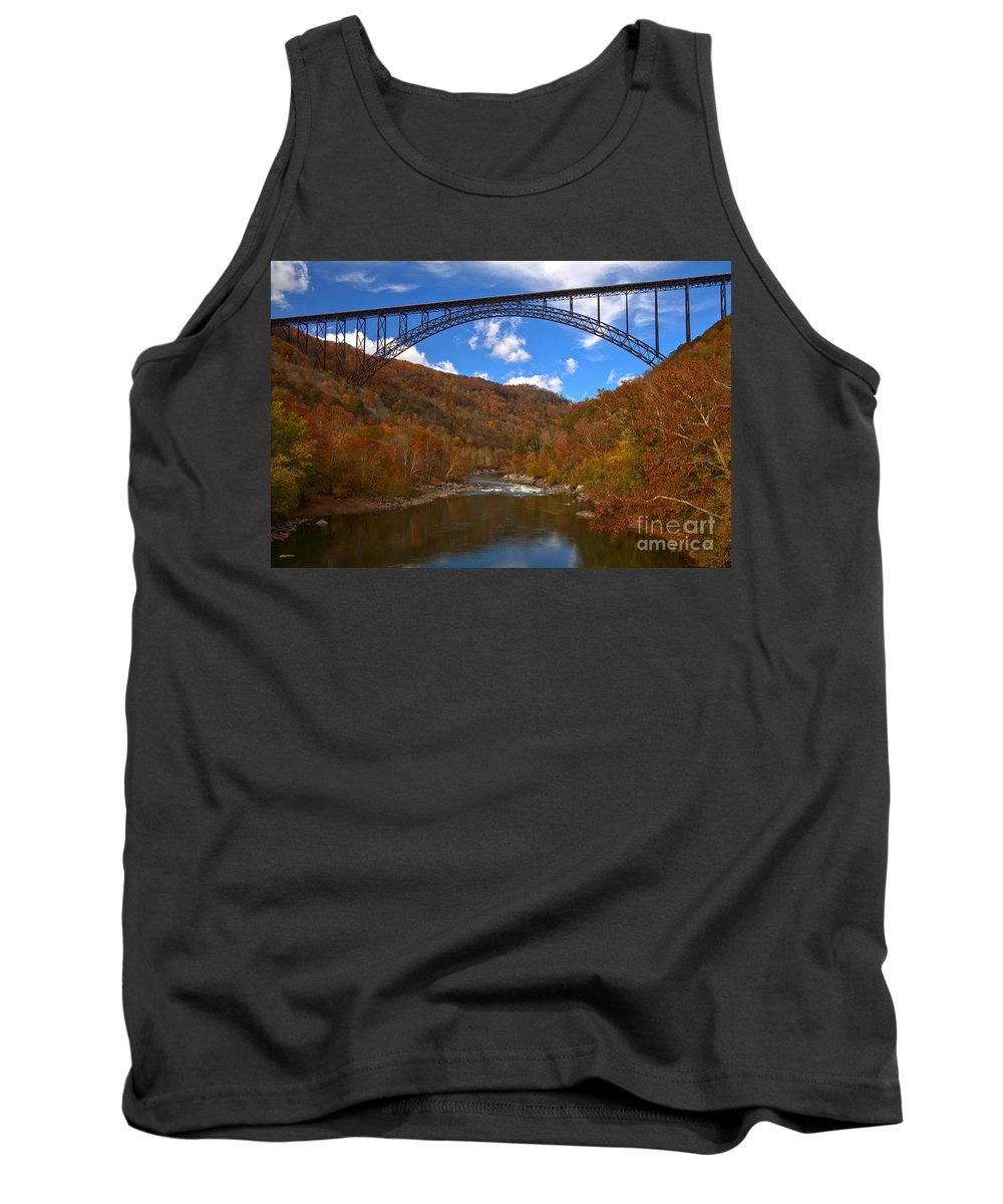 New River Gorge Tank Top featuring the photograph New River Gorge Fiery Fall Colors by Adam Jewell
