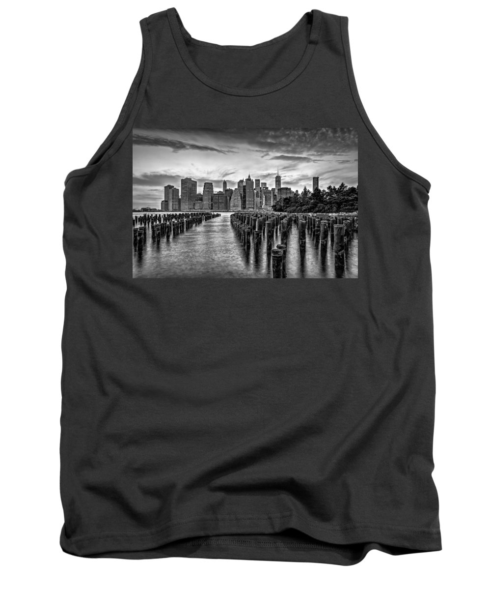 Freedom Tower Tank Top featuring the photograph New York City Skyline Sunset Hues Bw by Susan Candelario