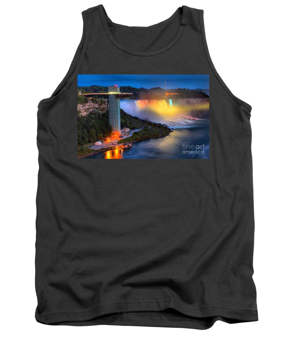 Niagara Falls Tank Top featuring the photograph Niagara American Falls At Night by Adam Jewell