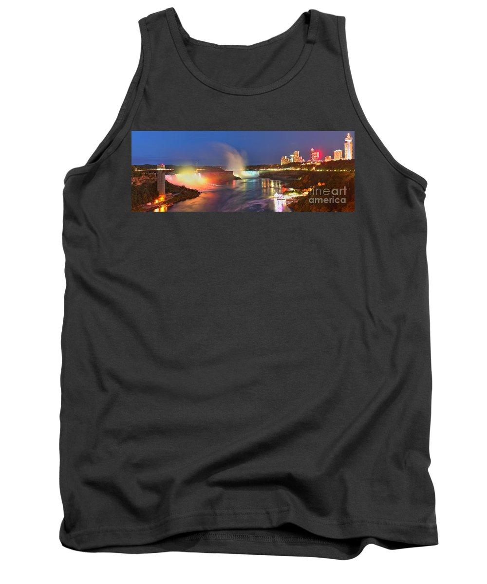 Niagara Falls Tank Top featuring the photograph Niagara Falls Night Lights Panorama by Adam Jewell