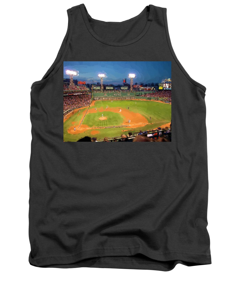 Baseball Tank Top featuring the painting Night Fenway Pop by John Farr