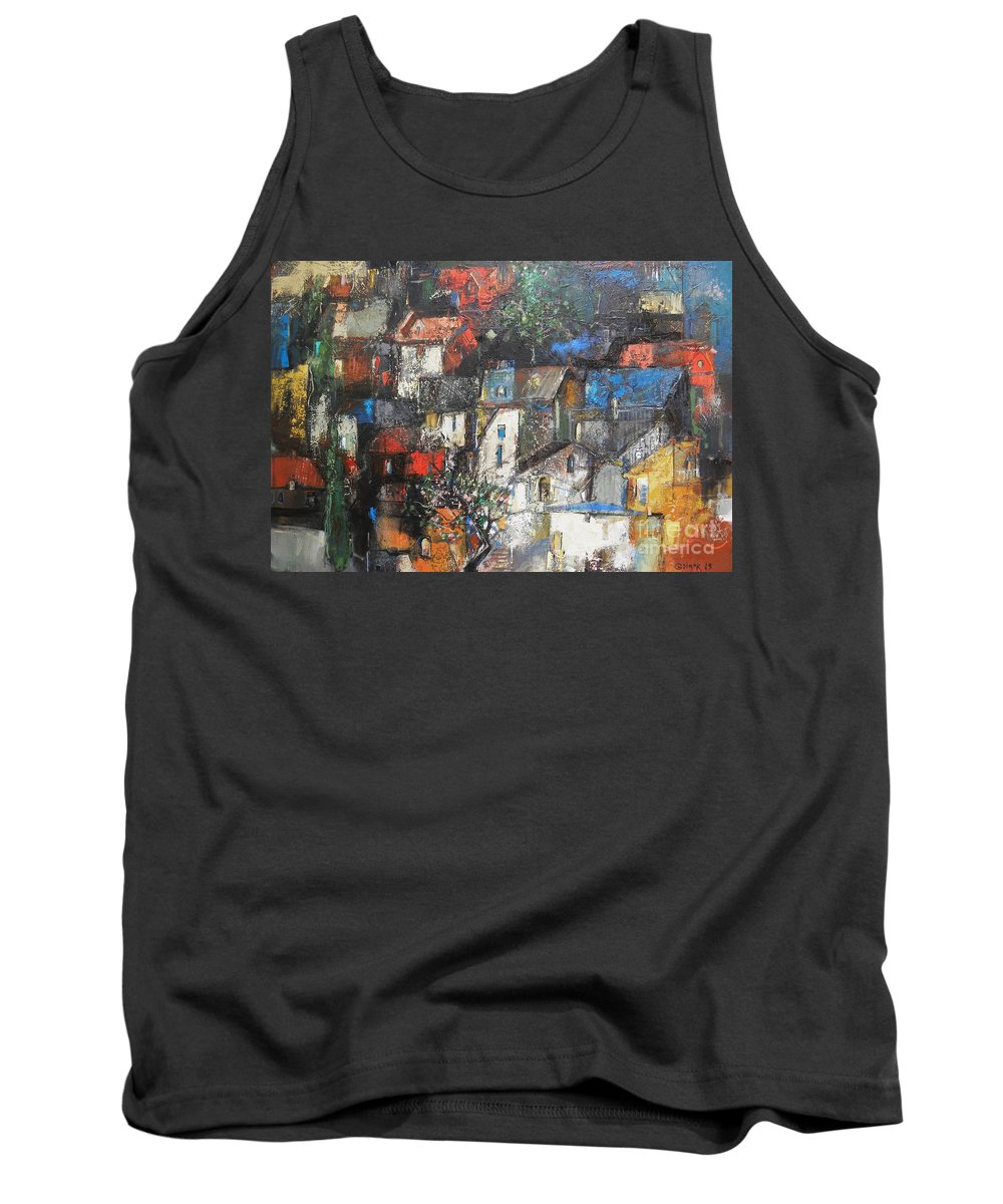 Landscape Tank Top featuring the painting Night Over The Town by Grigor Malinov