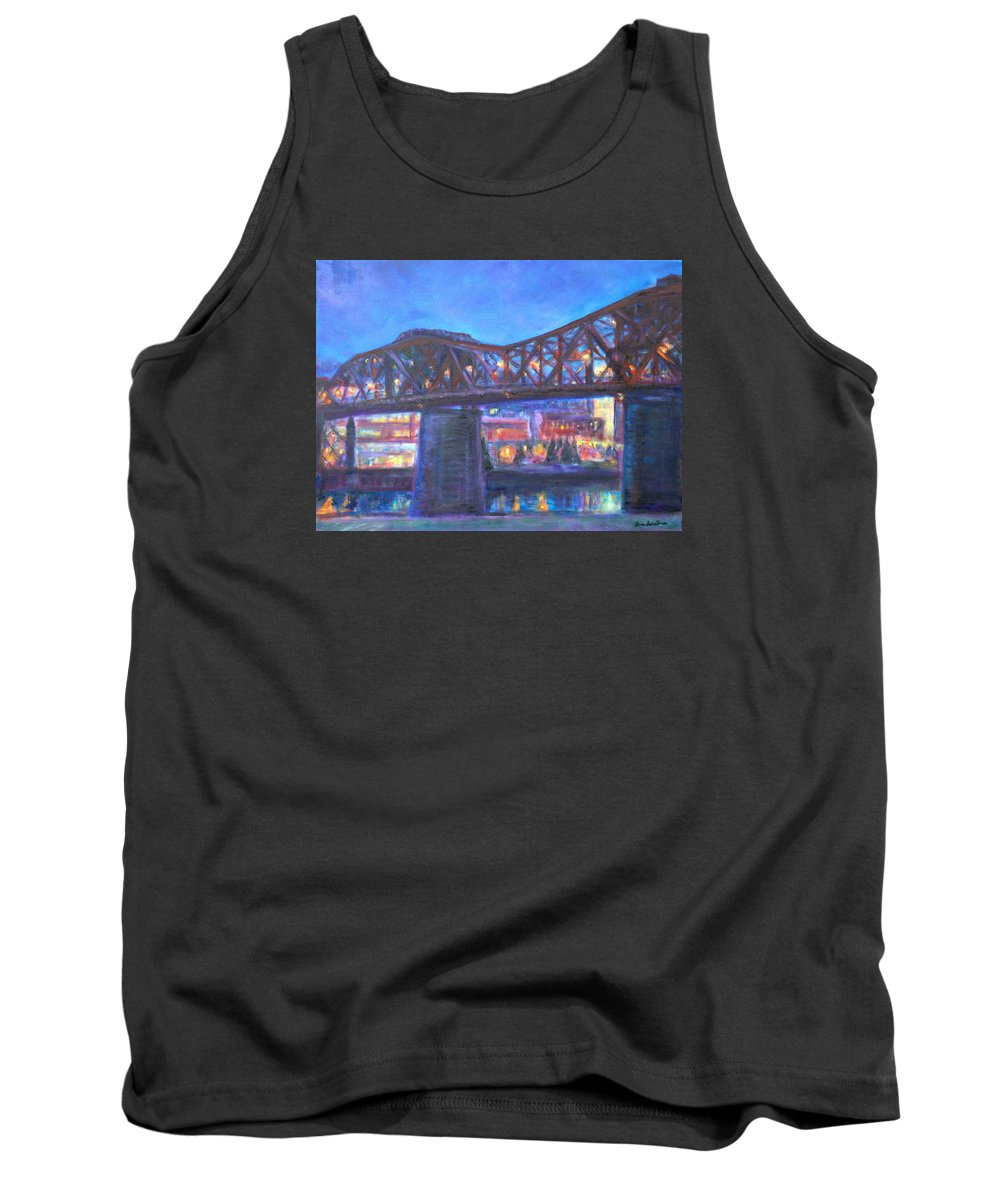 Sky Tank Top featuring the painting City At Night Downtown Evening Scene Original Contemporary Painting For Sale by Quin Sweetman