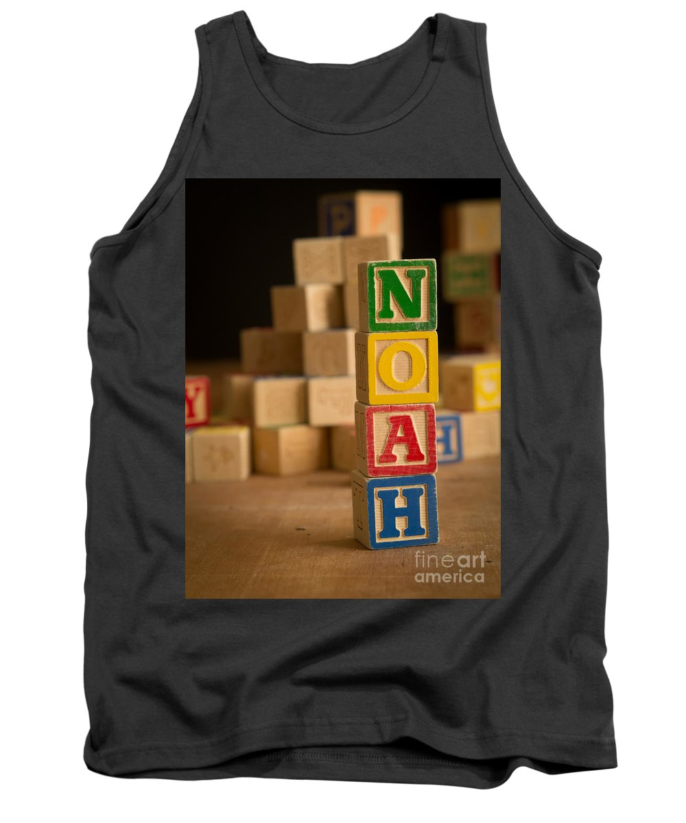 Alphabet Tank Top featuring the photograph Noah - Alphabet Blocks by Edward Fielding