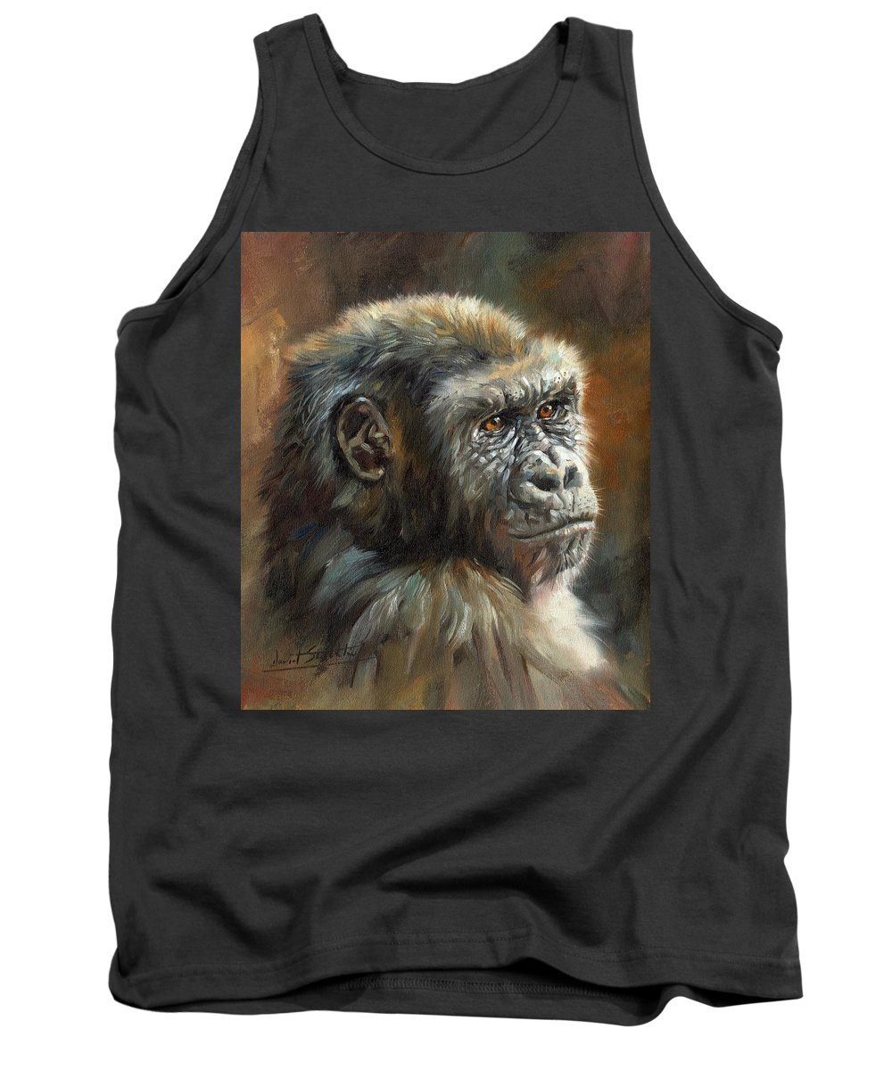 Gorilla Tank Top featuring the painting Noble Ape by David Stribbling