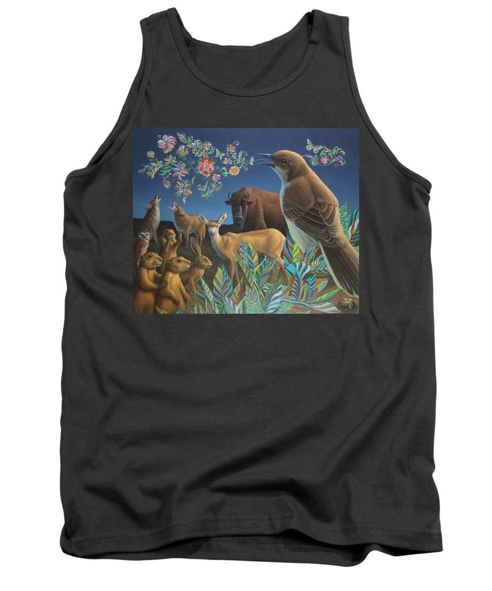 Mockingbird Tank Top featuring the painting Nocturnal Cantata by James W Johnson