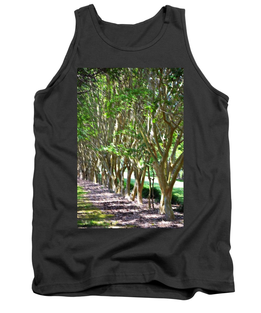 Favorite Spot In The Gardens Tank Top featuring the painting Norfolk Botanical Garden 5 by Jeelan Clark