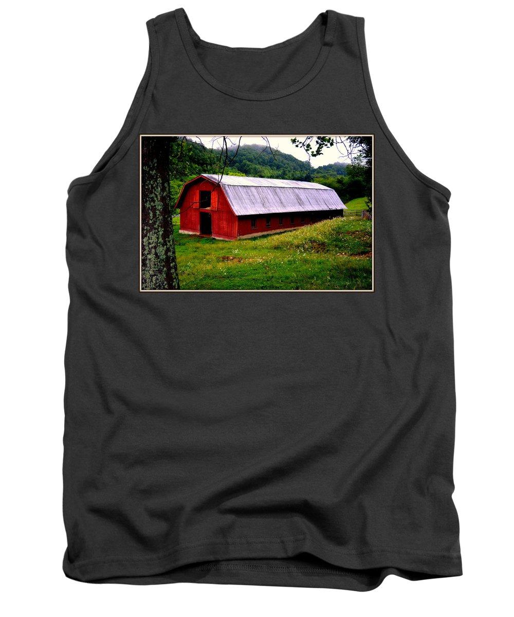 North Carolina Tank Top featuring the photograph North Carolina Red Barn by Kathy Barney