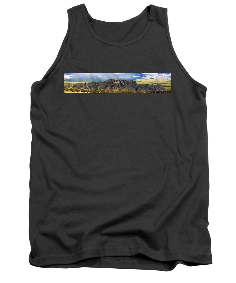 Clouds Tank Top featuring the photograph North Face Sandias Panorama 2 by Brian King