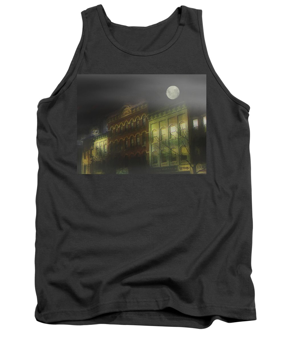 Cityscape Tank Top featuring the painting Northampton By Moonlight by RC deWinter
