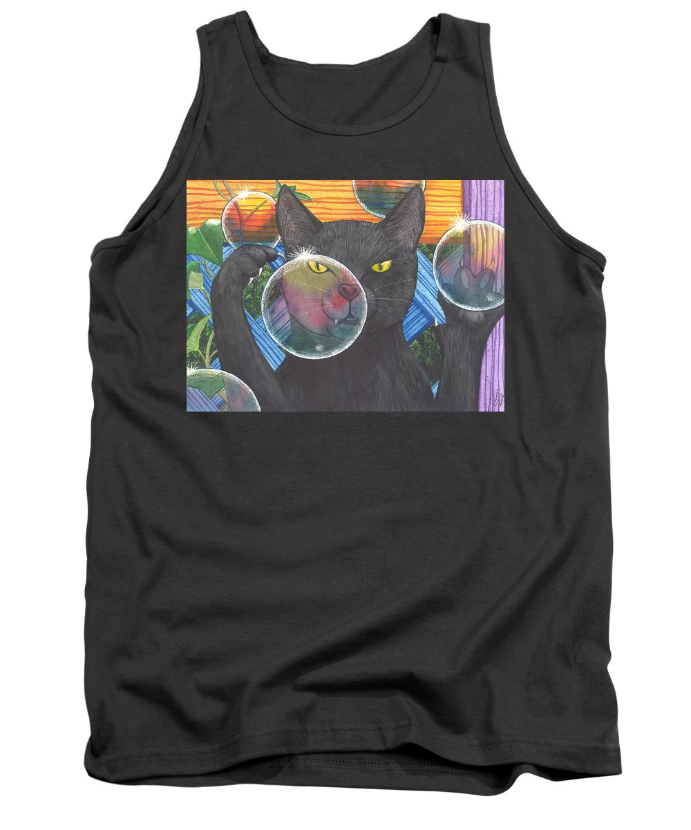 Cat Tank Top featuring the painting Now you see it by Catherine G McElroy