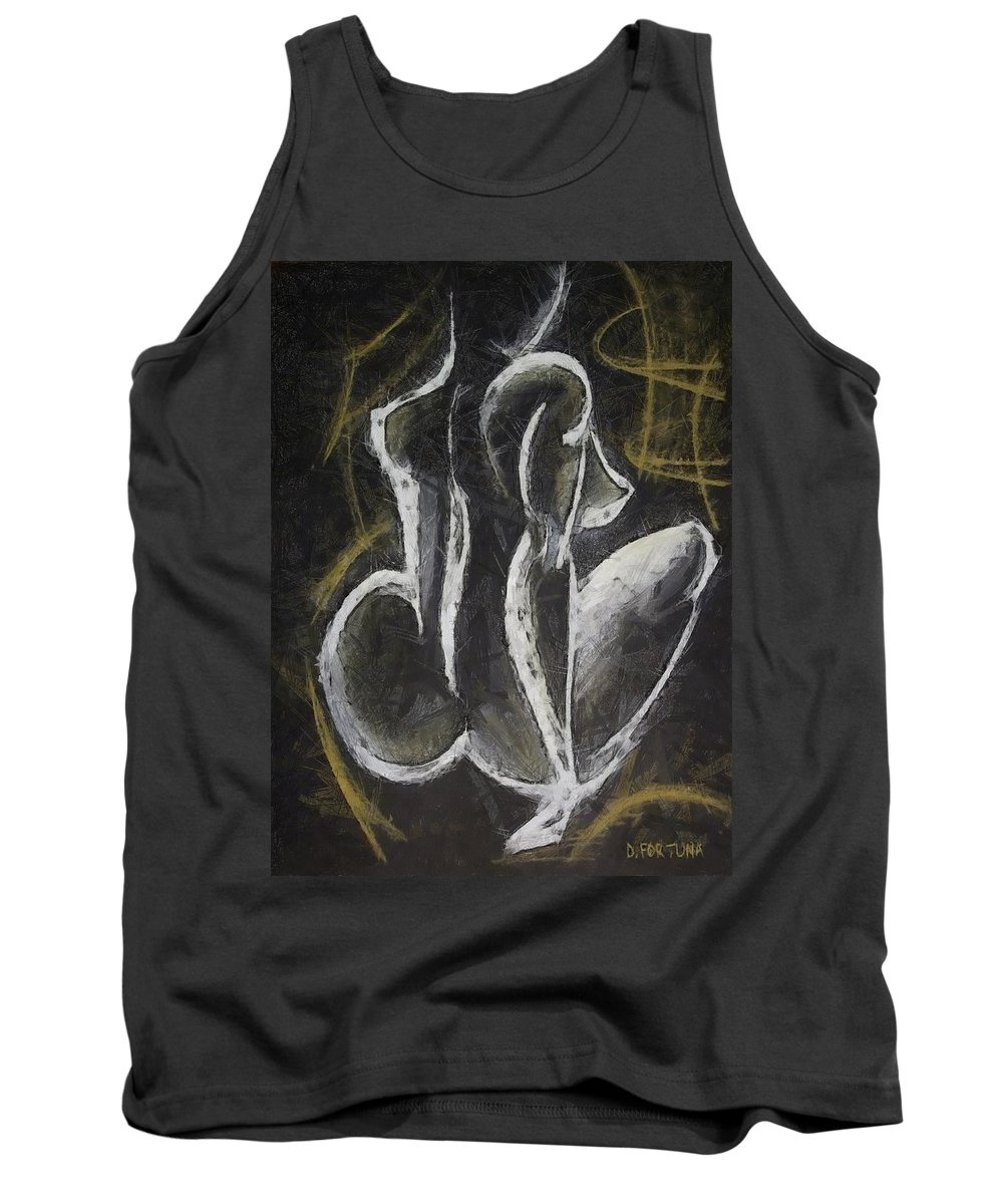 Female Nude Tank Top featuring the drawing Nude Vii by Dragica Micki Fortuna