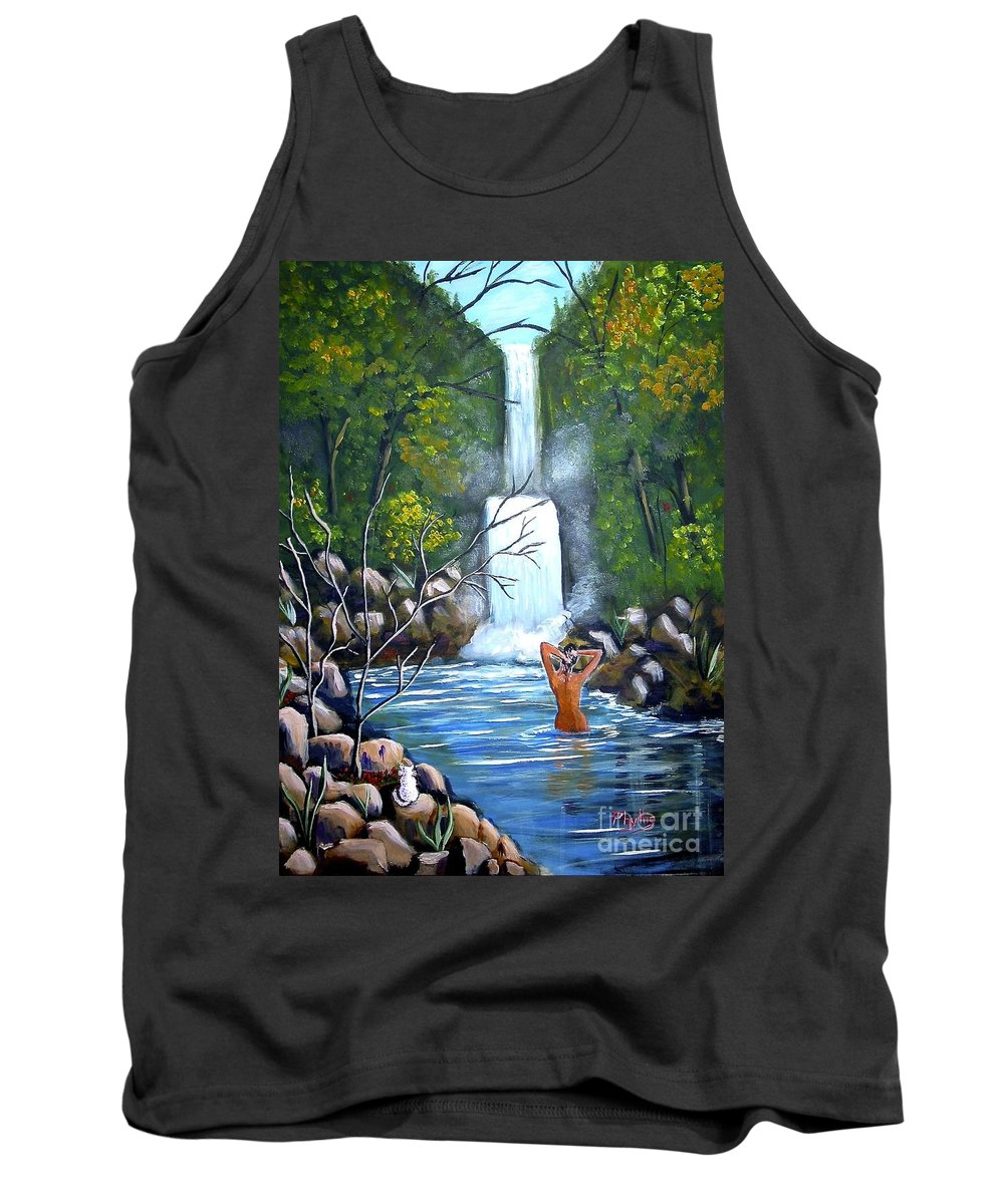 Waterfall Tank Top featuring the painting Nymph In Pool by Phyllis Kaltenbach