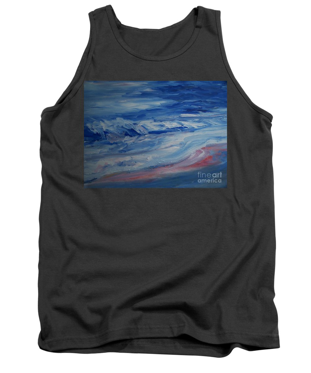 Ocean Shoreline Tank Top featuring the painting Ocean Shoreline by Eric Schiabor