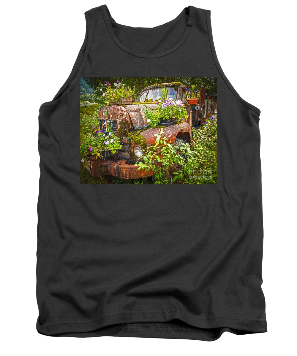 Flower Tank Top featuring the photograph Old Truck Betsy by Mike Reid