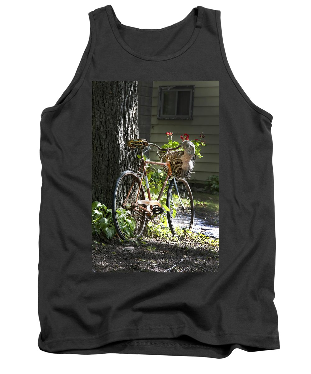Bicycle Tank Top featuring the photograph Old Bicycle And Hat by Ray Summers Photography