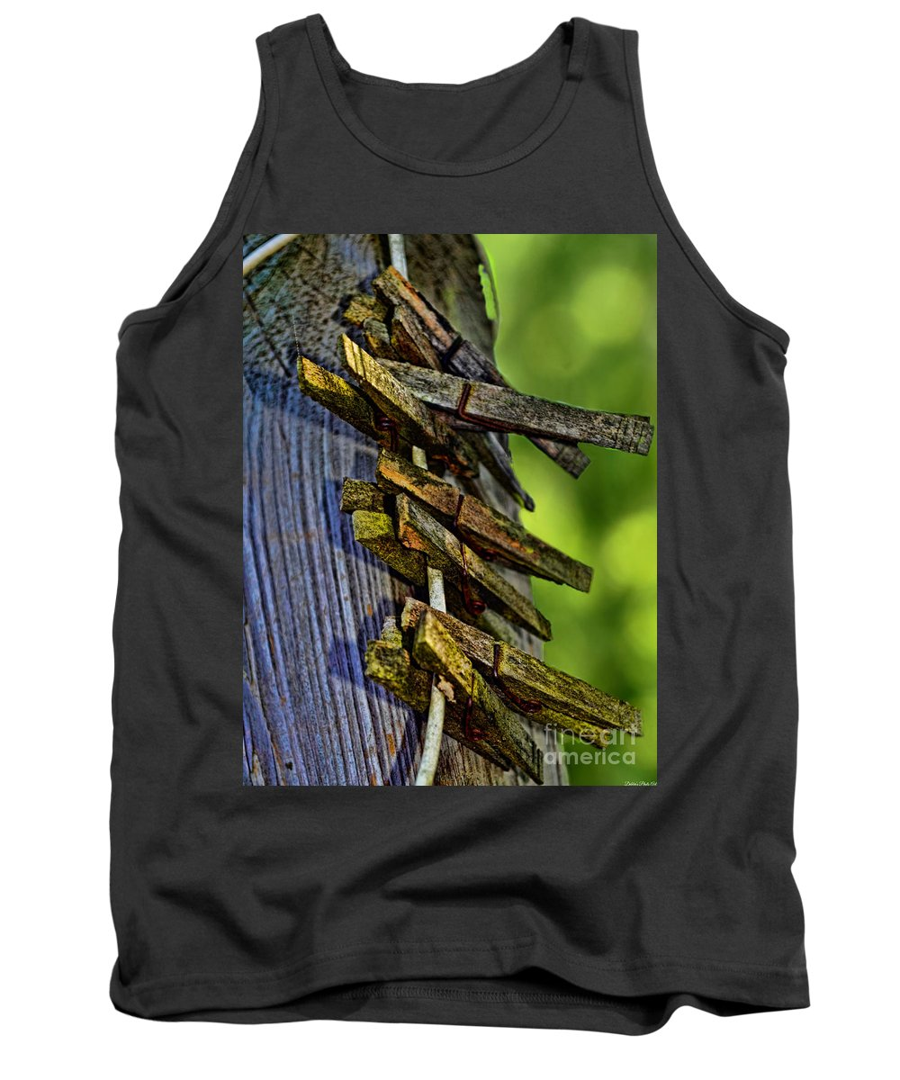 Rustic Tank Top featuring the photograph Old Clothes Pins I by Debbie Portwood
