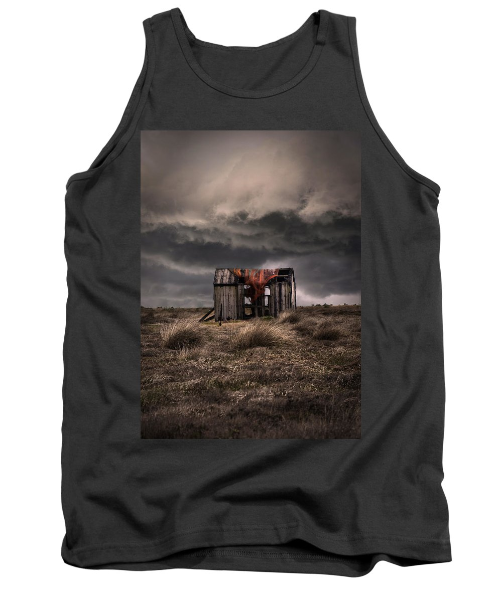 Hut.shade Tank Top featuring the photograph Old Forgotten Shade With Red Fish Net by Jaroslaw Blaminsky