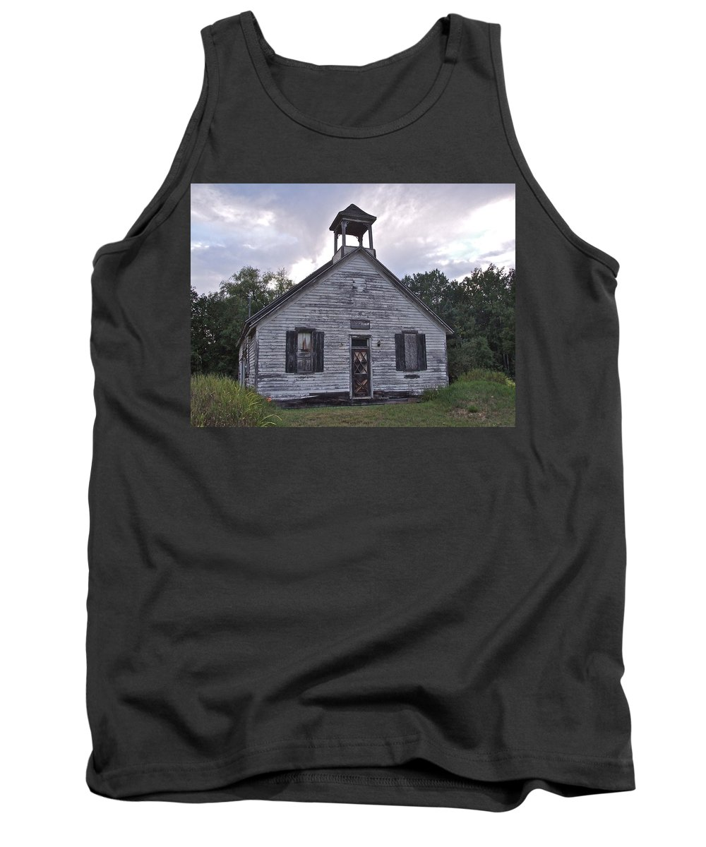 Abandoned Tank Top featuring the photograph Old Michigan School by Susan Wyman