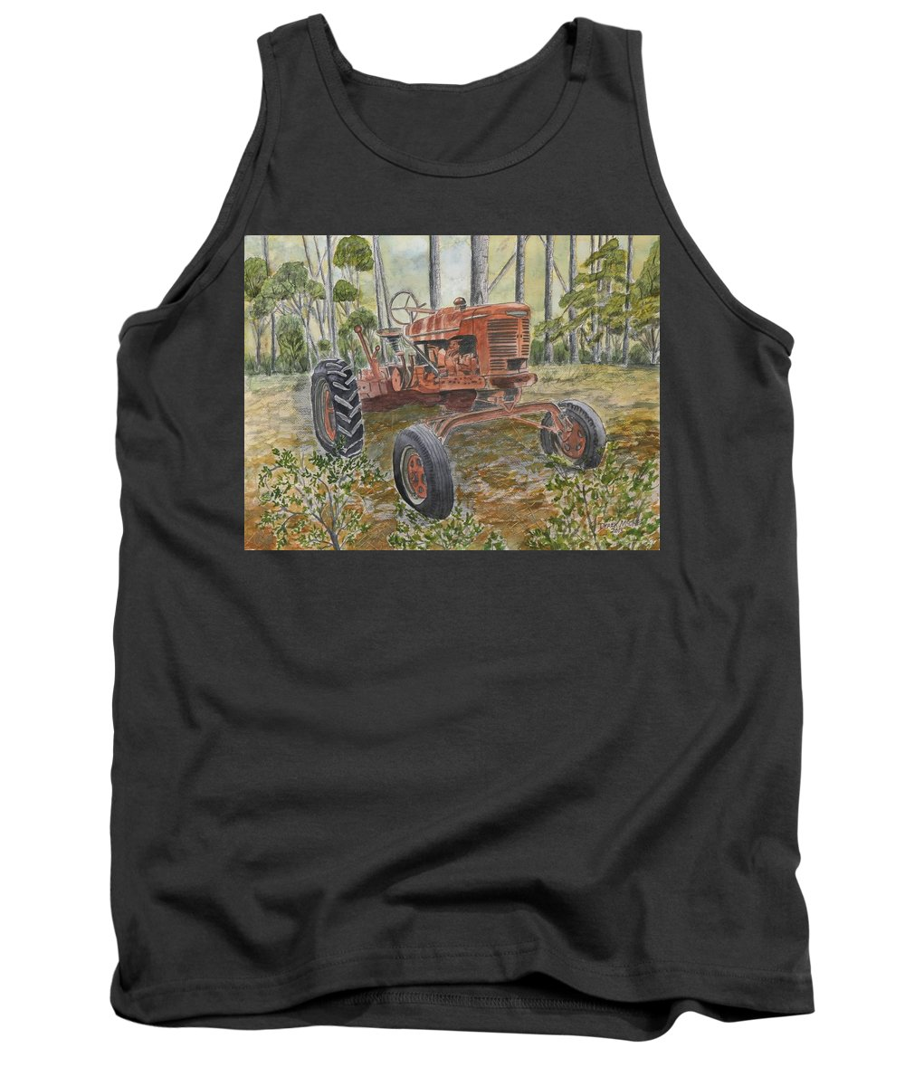 Old Tank Top featuring the painting Old Tractor Vintage Art by Derek Mccrea