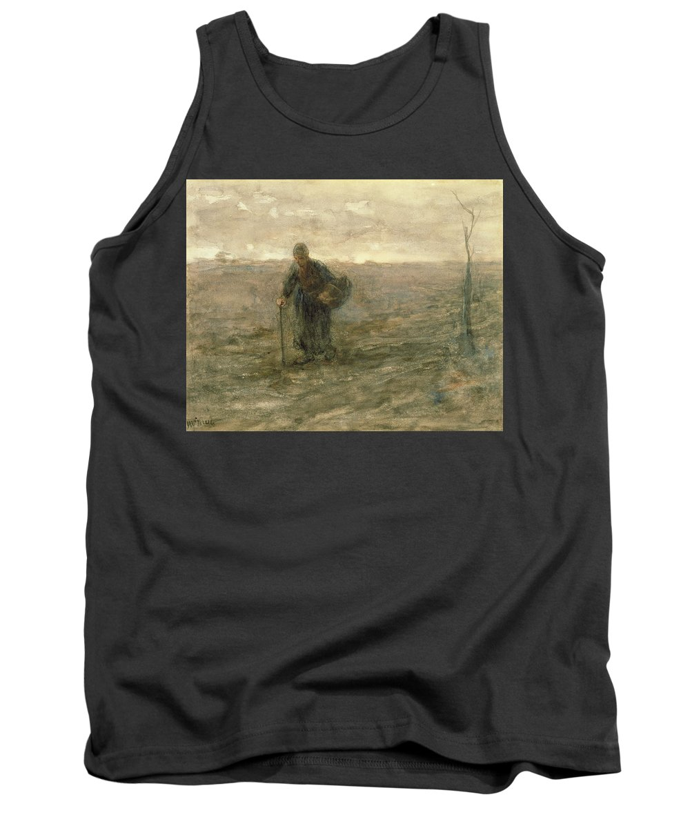Basket Tank Top featuring the drawing Old Woman On The Heath by Jozef Israels