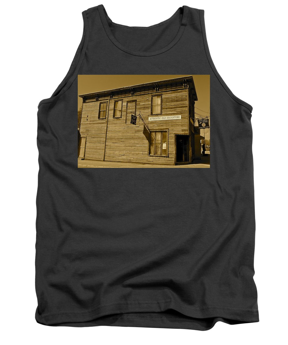 Sepia Tank Top featuring the photograph Oldest Drug Store 2 by Denise Mazzocco