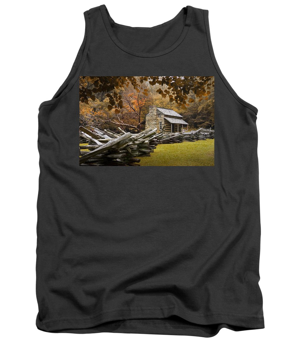 Great Smoky Mountains Tank Top featuring the photograph Oliver's Log Cabin During Fall In The Great Smoky Mountains by Randall Nyhof