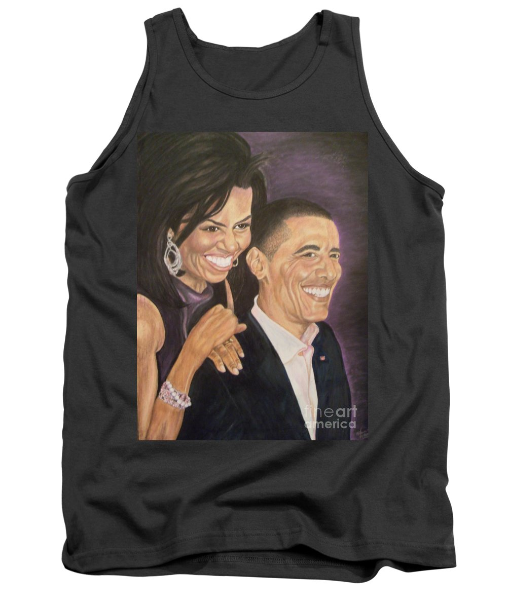 Portraits Tank Top featuring the painting Ombience Of Love The Obama by Arron Kirkwood