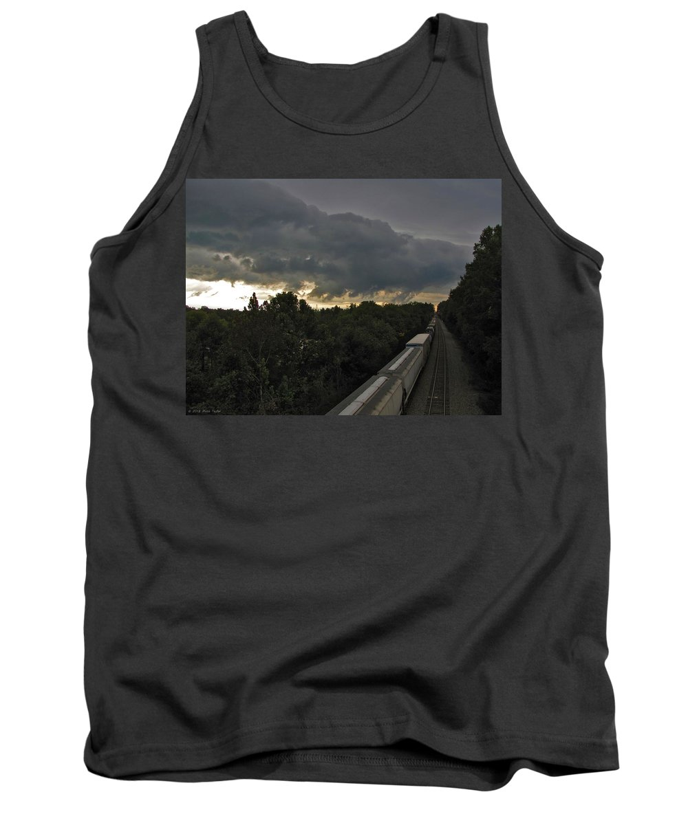 Nature Tank Top featuring the photograph Ominous Skies Over Tracks by Matt Taylor