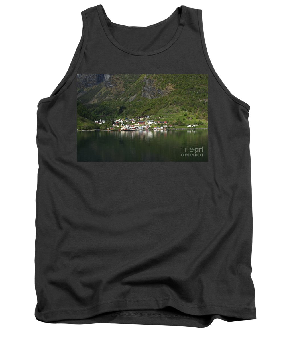 On The Edge Of The Fjord Tank Top featuring the photograph On The Edge Of The Fjord by Anne Gilbert